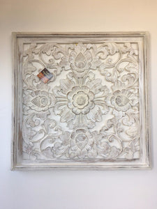 Balinese Hand Carved Timber Decorative Flower Wall Hanging Panel