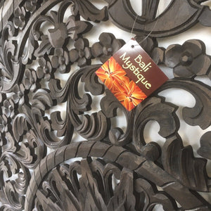 Square Carved Mandala Timber HeadBoard -  Wall Panel #1717