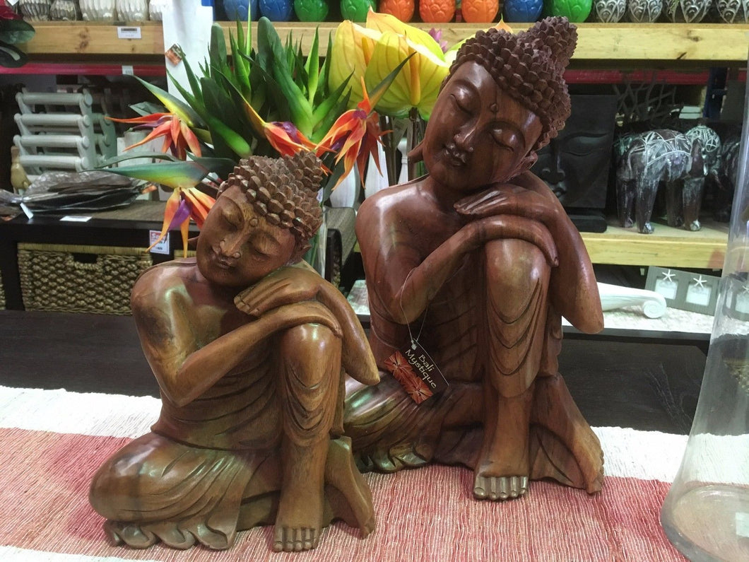 Hand Carved Wooden Resting Buddha Statue
