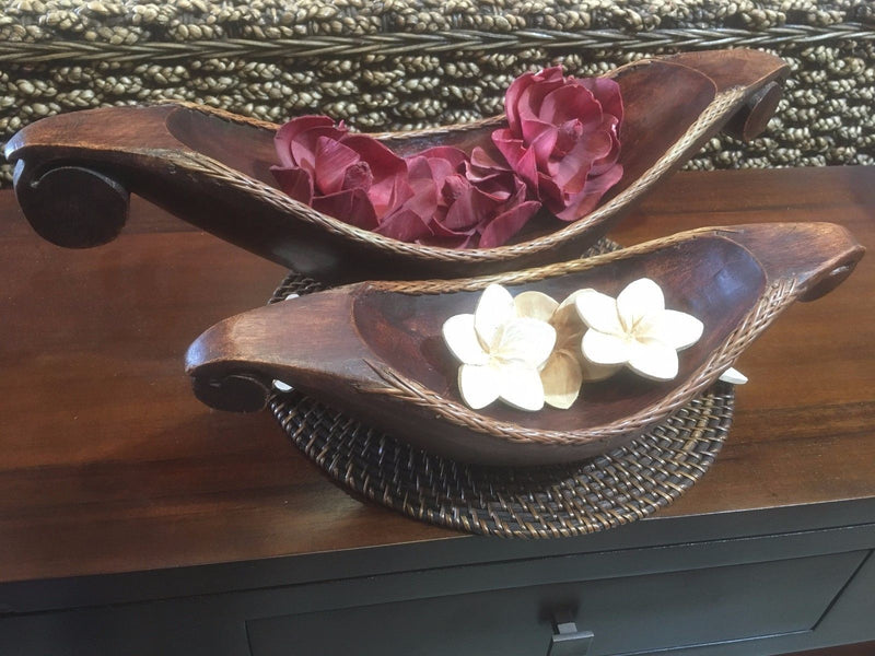 Balinese Hand Carved Canoe Boat Dish with Rattan Edge