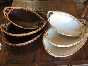 Balinese Oval Trays with Ratten edge Set Of Three #1856