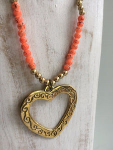 Bronze Heart Beaded Leaf Necklace
