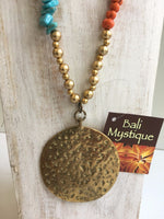 Balinese Round Bronze Pendant with Beaded Necklace