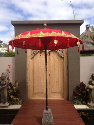 Balinese 2 Meter Umbrella with Gold Hearts & Tassels #1371