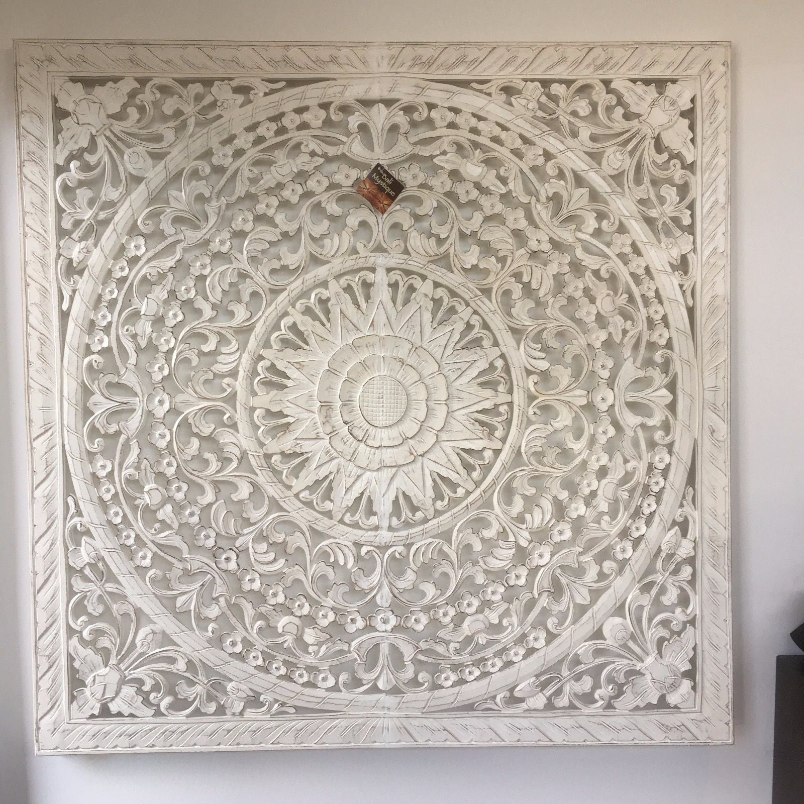 Square Carved Mandala Timber Headboard Wall Panel 1717