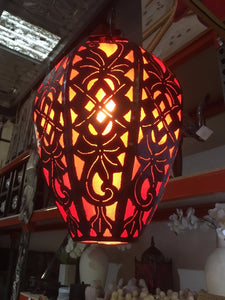 Moroccan Hanging Metal Pendant Lamp with Fabric Insert