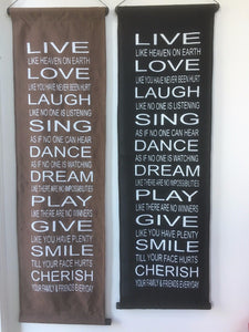Large Balinese Live, Love Laugh Affirmation Scroll #1505