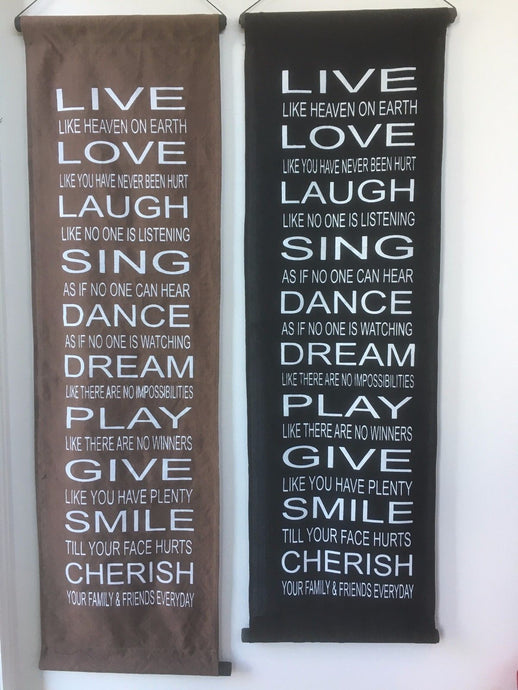 Large Balinese Live, Love Laugh Affirmation Scroll