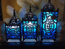 Load image into Gallery viewer, Balinese Masjid Turquoise Metal Moroccan Lamp