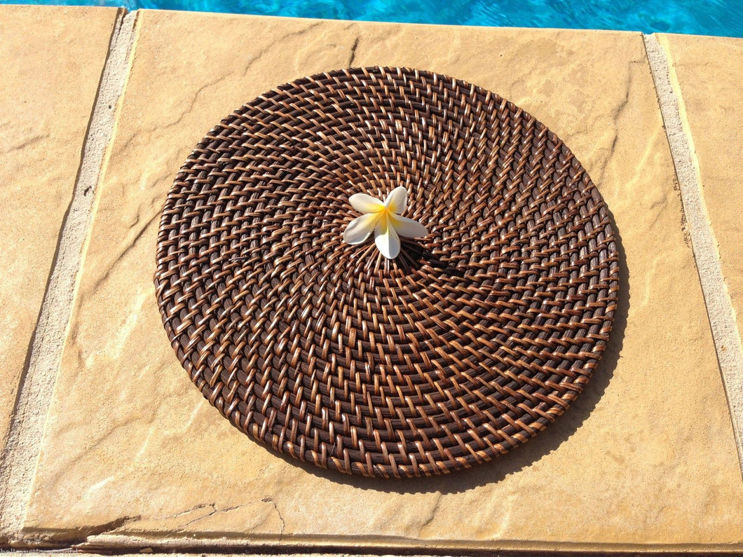 Balinese Round Rattan Cane Place mat #1107