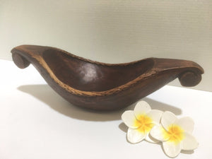 Balinese Hand Carved Canoe Boat Dish with Rattan Edge #534