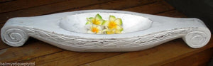 Balinese Whitewash Carved Timber Canoe Boat Dish