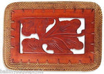 Balinese Rectangle Carved Timber Placemat with a Rattan Edge from Bali