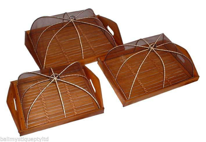 Balinese Rectangle Bamboo Trays & Food Covers Set of 3 #20