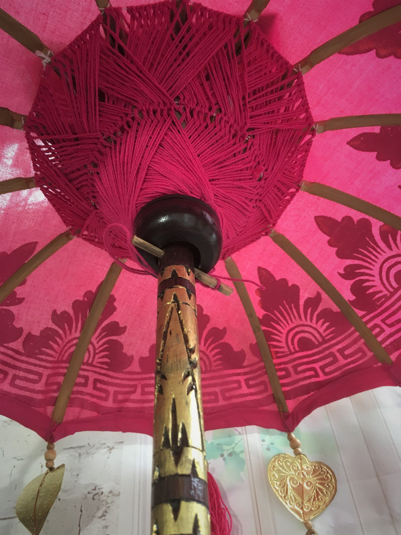 Balinese 100cm Umbrella with Gold Hearts & Tassels