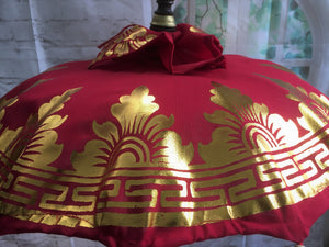 Balinese Table Umbrella with Gold Hearts Bells & Tassels #328