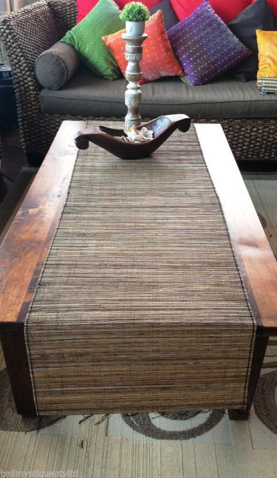 Balinese Lidi Stick Table Runner with Fringe