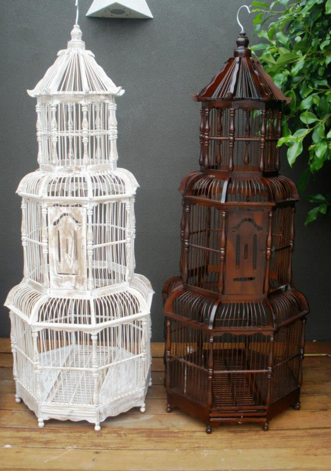 Balinese Large Brown Pagoda Ornamental Bamboo Bird Cage
