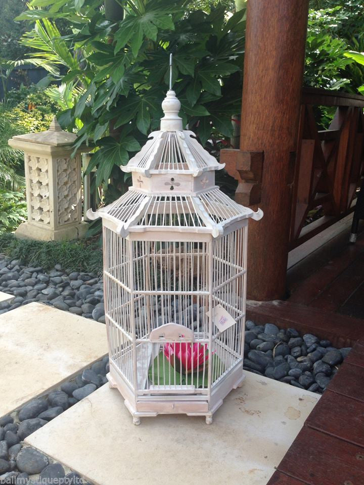 Balinese  Mandale Ornamental White Shabby Bamboo Bird Cage #495