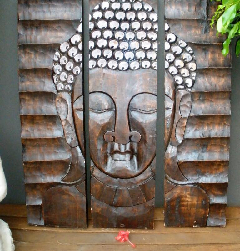 Balinese Large Split Face Buddha Wood Carving Panel Wall Hanging