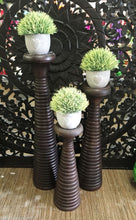 Balinese Brown Carved Timber Candle Holder Set of 3