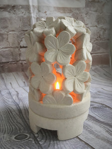 Balinese Flower Dome Limestone Candle Holder or Table Centrepiece #513