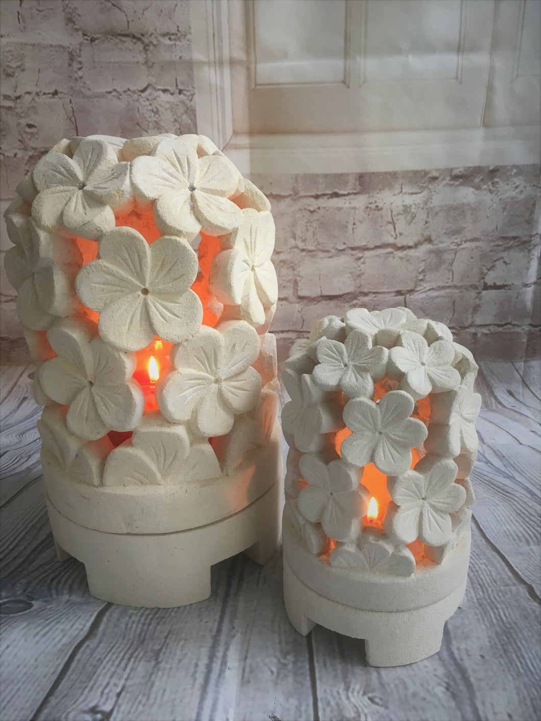 Balinese Flower Dome Limestone Candle Holder or Table Centrepiece