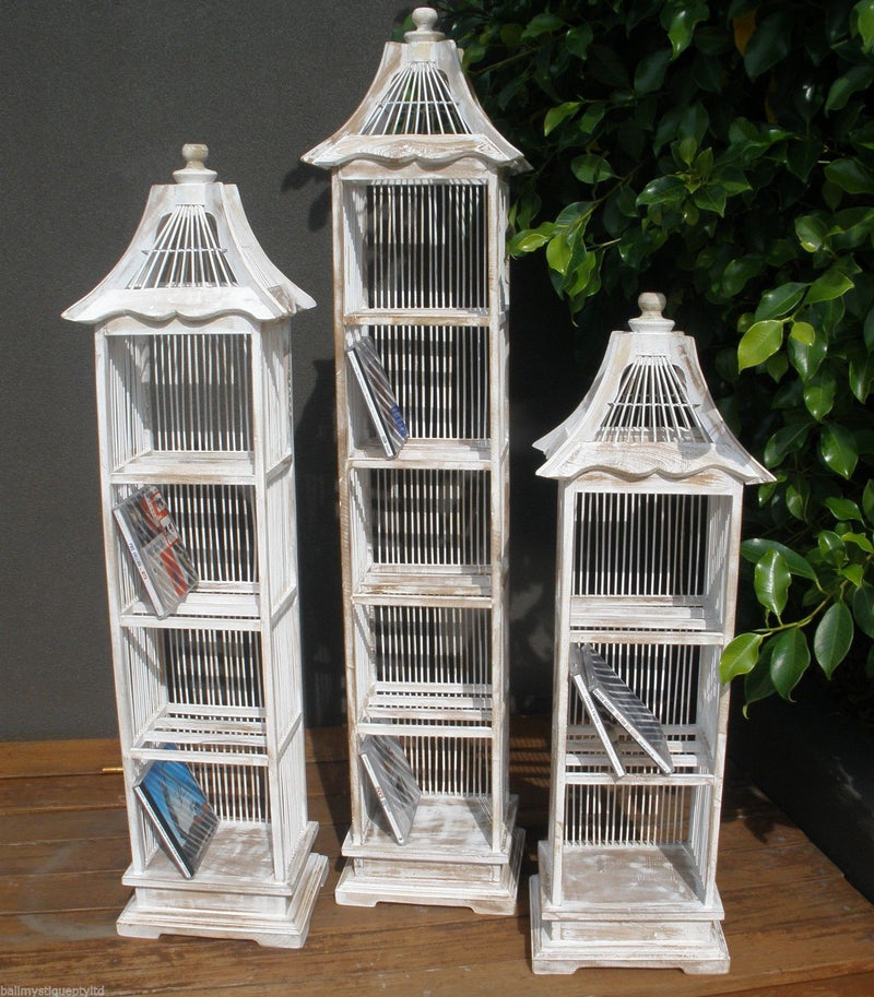 Balinese Whitewash Decorative Bamboo Birdcage CD Holder Shelf Storage
