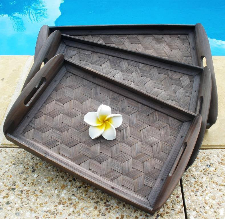 Balinese Woven Bamboo Breakfast/Serving Trays  Set 3