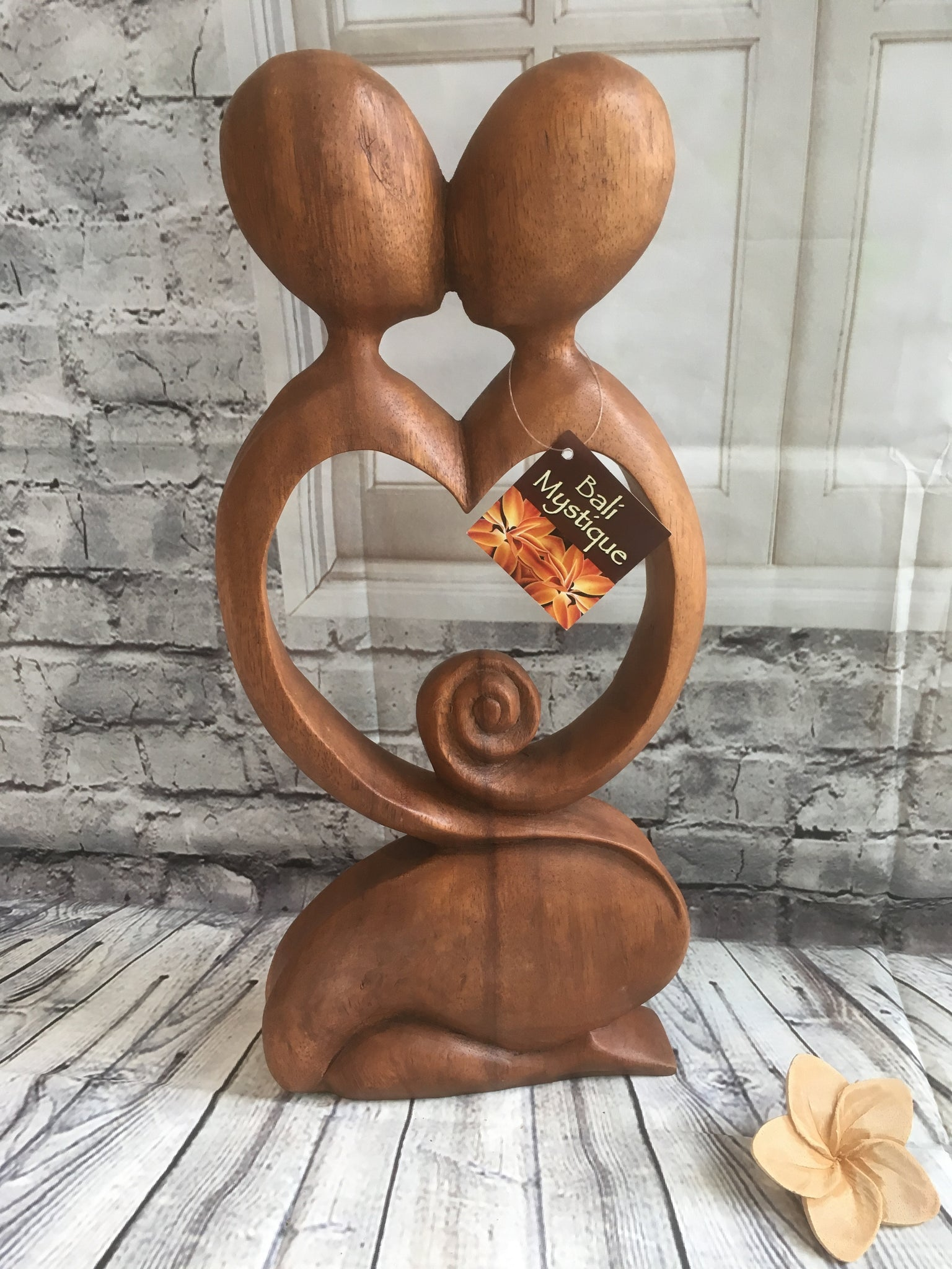 Balinese Abstract Wood Carving Loving Pregnancy Couple