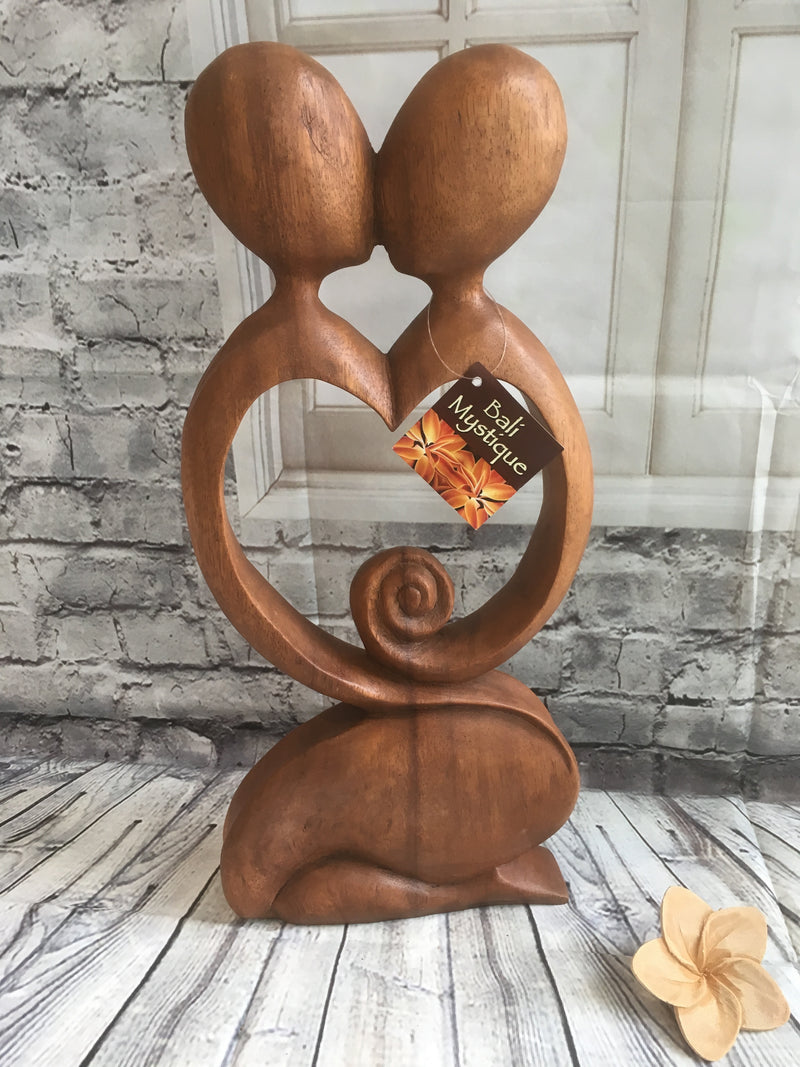 Balinese Abstract Wood Carving Loving Pregnancy Couple Sculpture