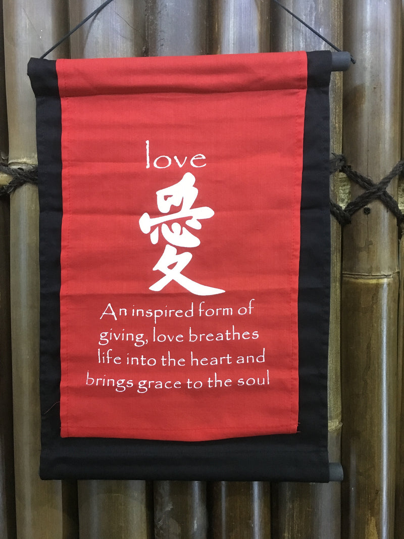 RED Love  Affirmation Prayer Flag Scroll ~ Bali