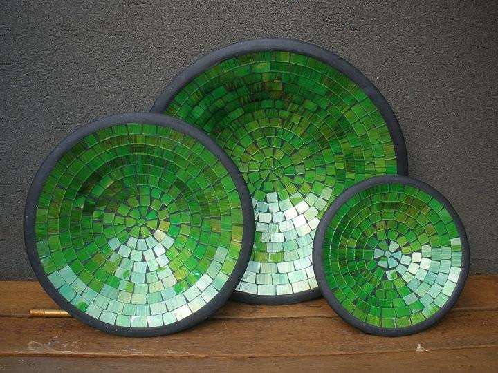 Balinese Glass Mosaic Bowl Set of 3