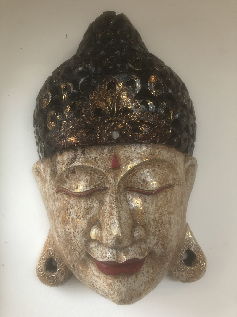 Hand Carved Timber Buddha Mask