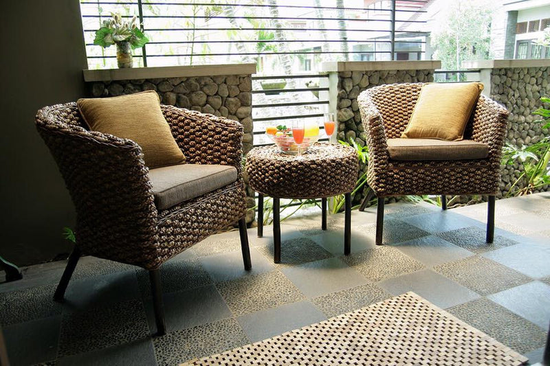 Balinese Nura Water Hyacinth Patio Alfresco Chairs & Coffee Table