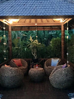 Balinese Rattan Water Hyacinth Alfresco Tub Chairs & Coffee Table Setting