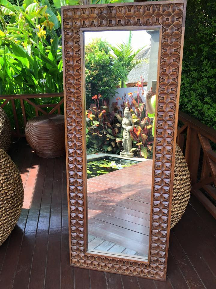 Balinese Carved Timber Batik Mirror #801