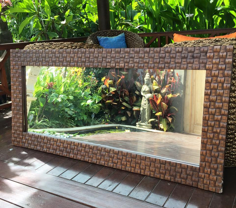 Balinese Carved Timber Weave Mirror