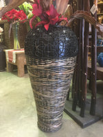 Balinese 80cm Terracotta and Ratten Vase