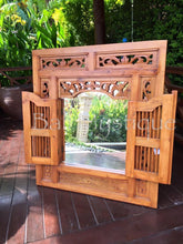 Load image into Gallery viewer, Balinese Carved Timber Prison Jail Door Mirror