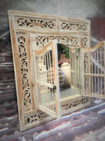 Balinese Carved Timber Prison Jail Door Mirror