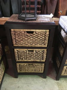 Balinese Solid Mahogany Timber 3 Drawer Unit/Tall Boy