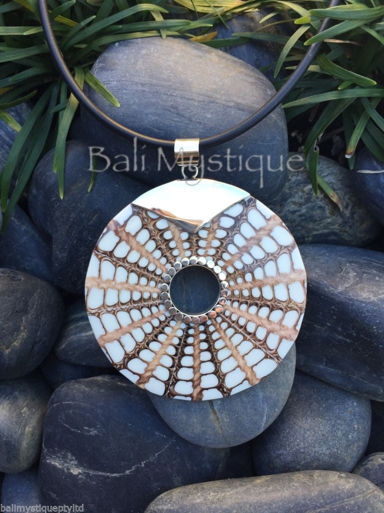 Balinese White Spider Shell Round Pendant with Stirling Silver 925 Clasp