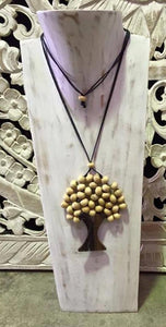 Balinese Shabby Whitewash Timber Jewellery Necklace Display Stand