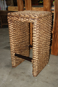 Water Hyacinth Breakfast Bar Stools with Mahogany Legs