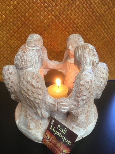Balinese Terracotta Whitewash Circle of Friends / Angels Centerpiece #925