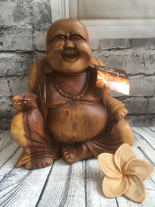 Balinese Feng Shui Hand Carved Lucky Buddha Wood Statue #926