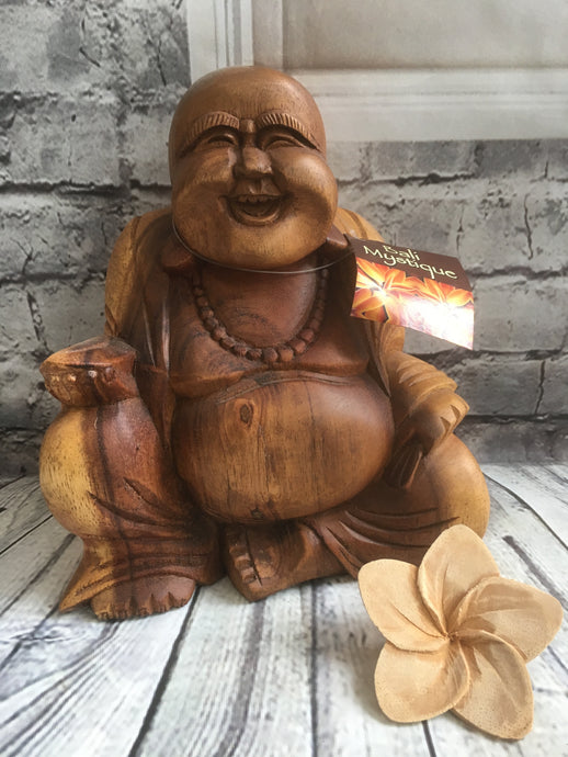 Balinese Feng Shui Hand Carved Lucky Buddha Wood Statue