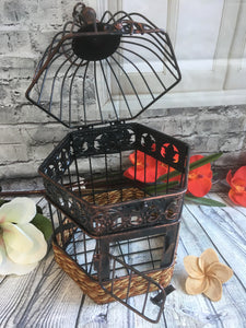 Rustic Bronze Wire Iron Bird Cage Wishing Well / Wedding Centre Piece