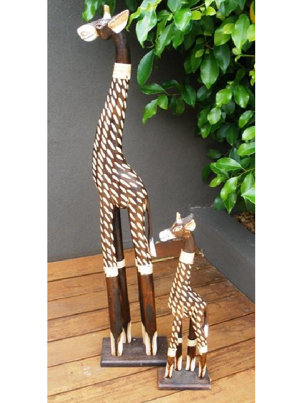 Balinese Spotty Giraffe Wood Carving Statue